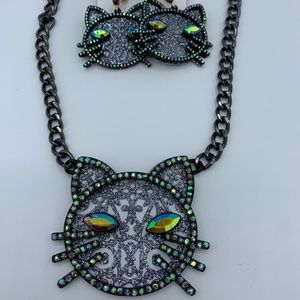Betsey Johnson Cat necklace and earring
